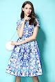 New 2016 Short Sleeve Blue White Abstract Print Flare Dress