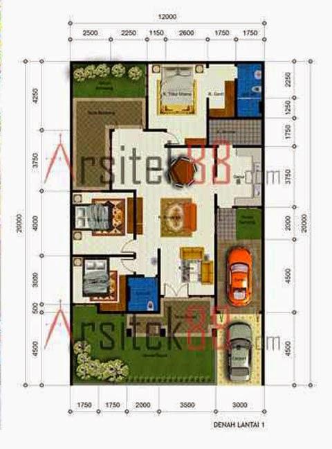 denah rumah 1 lantai dengan 3 kamar tidur