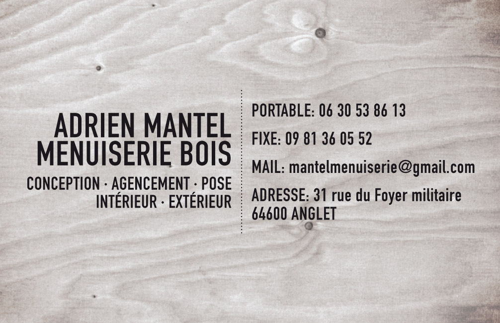 Carte De Visite Pour Un Artisan Menuisier
