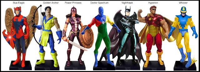 <b>Wave 34</b>: Blue Eagle, Golden Archer, PowerPrincess, Dr Spectrum, Nighthawk, Hyperion, Whizzer
