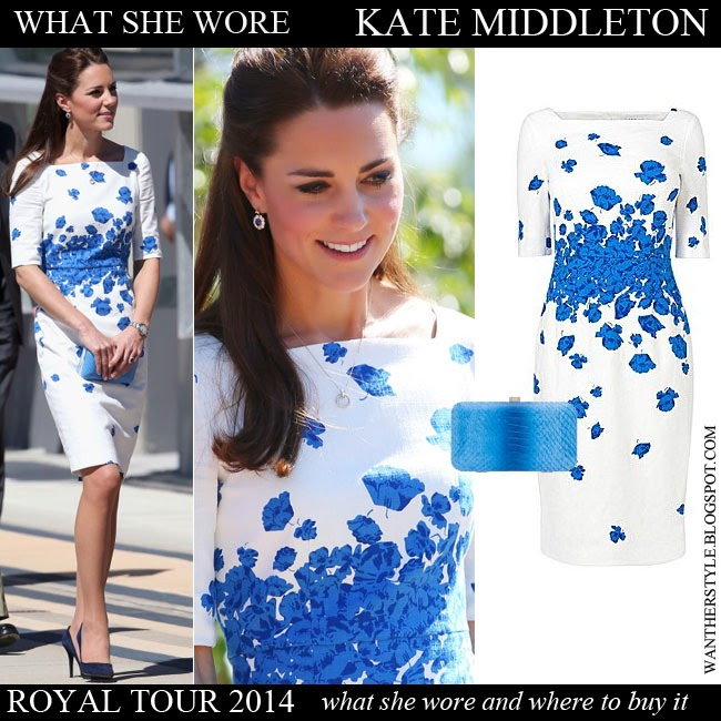 Kate Middleton Duchess of Cambridge in white blue floral print short sleeve dress LK Bennett Lasa Want Her Style Royal Tour 2014