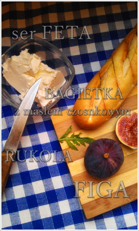 grzanki, figa, przekąska, ser feta, rukola