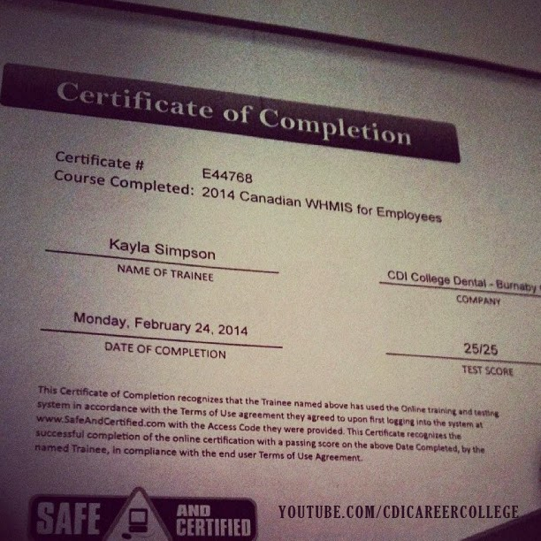 cdi college whmis certificate completion instagram woohoo bc burnaby glad thats lol done