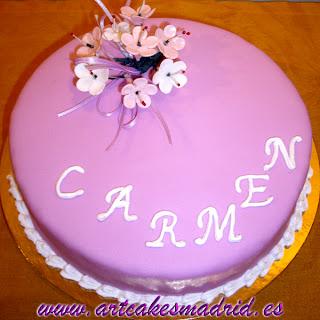 tarta con flores para Carmen