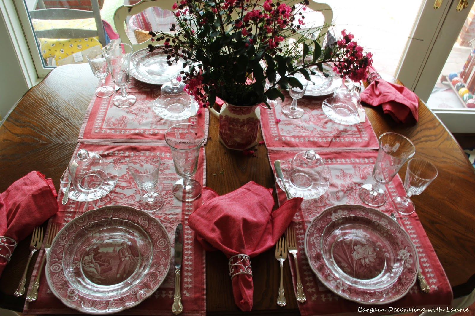 toile de jouy tablescape bargain decorating with laurie