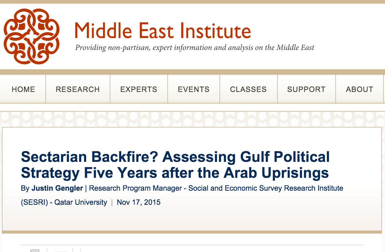 religion and politics in the middle east institute has just published a short essay by me titled sectarian backfire assessing gulf political strategy five years after the arab