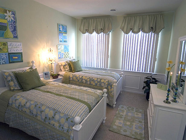 Hgtv Design Ideas pictures of beautiful kitchen designs layouts from hgtv kitchen ideas design with cabinets islands backsplashes hgtv Twice The Fun This Cottage Inspired Little Girls Room Offers A Soft Color Palate Of Celadon Daisy Yellow And Ocean Blue A Timeless Design Is Chosen