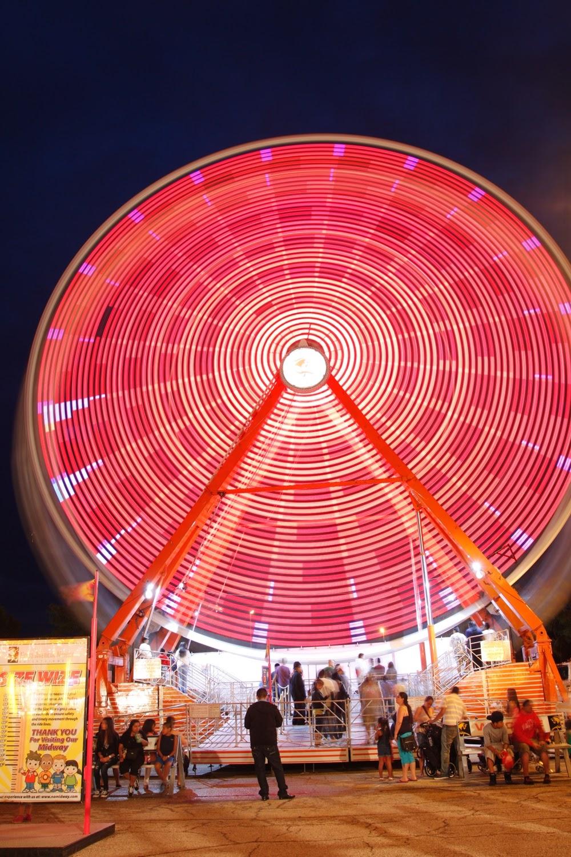 Ferris Wheel at Night Long Exposure Photograph