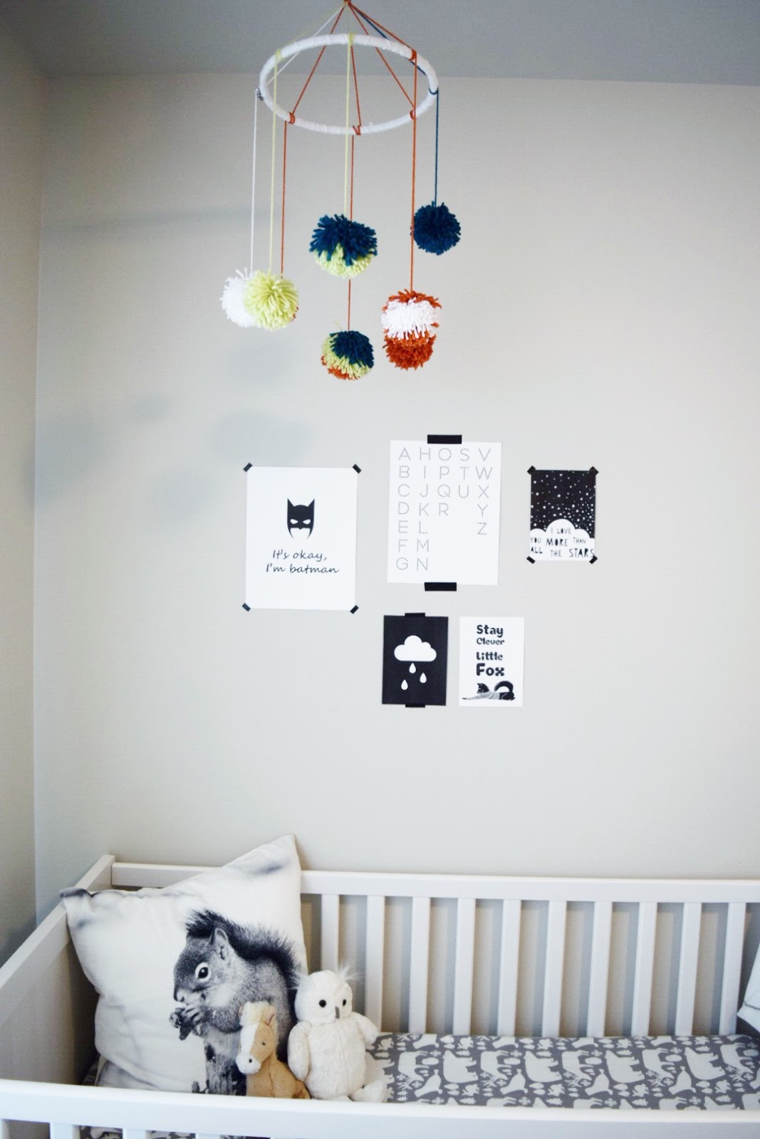 Crib: IKEA / Crib Sheet: Land of Nod / Crib Throw Pillow: IKEA / Stuffed  Animals: Jellycat / Baby Vest: Patagonia / Mobile: DIY / Wall Posters: