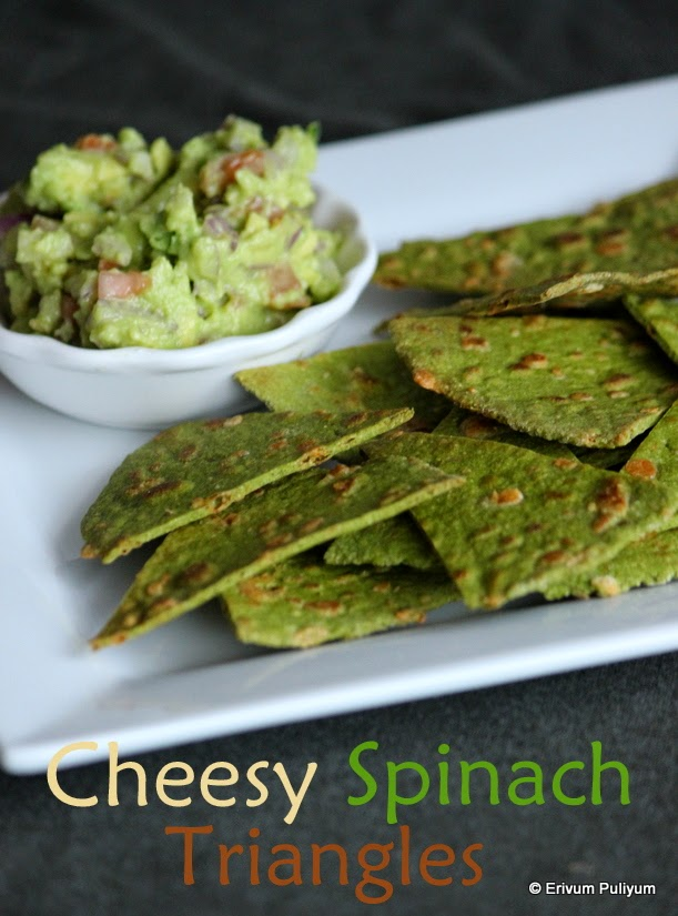 Cheesy Spinach Triangles(Step by Step Pics) | Baked Cheese Crackers (wheat flour)