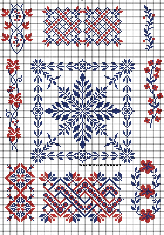 Схема вышивки крестом. Орнаменты русских вышивок. Узоры 40