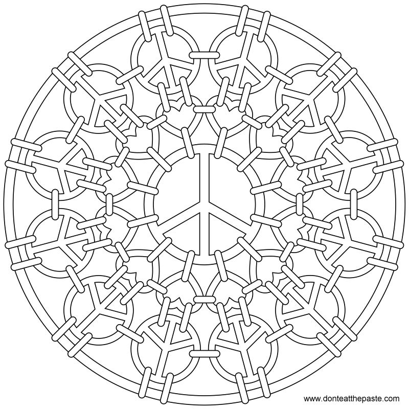 Peace symbol mandala to color- also available in transparent PNG format!