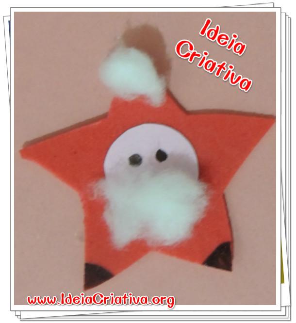 Enfeite Estrela Papai Noel Artesanato para crianças da Educação Infantil