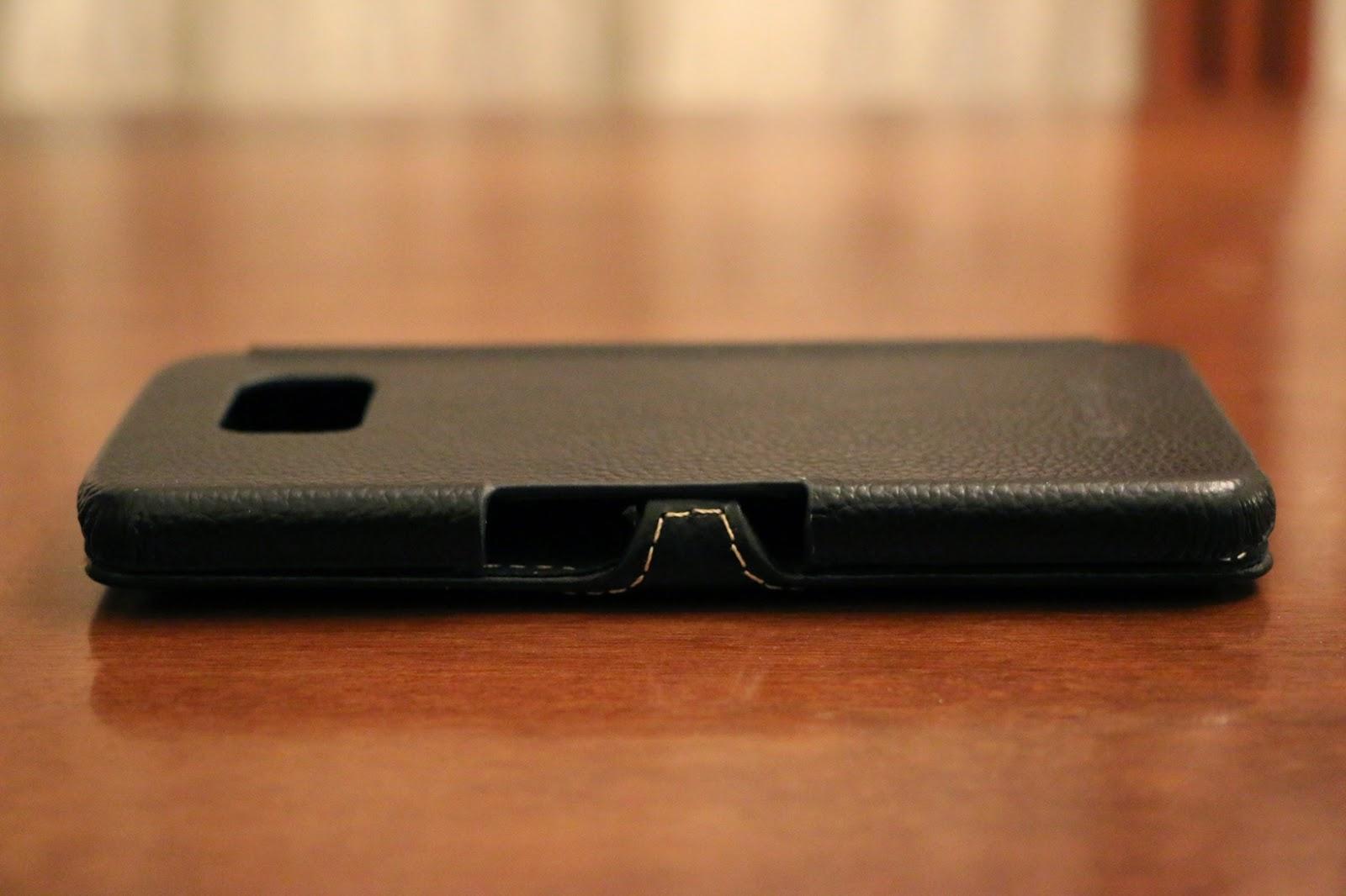 StilGut custodia Galaxy S6 modello Book Type nera vista laterale 1