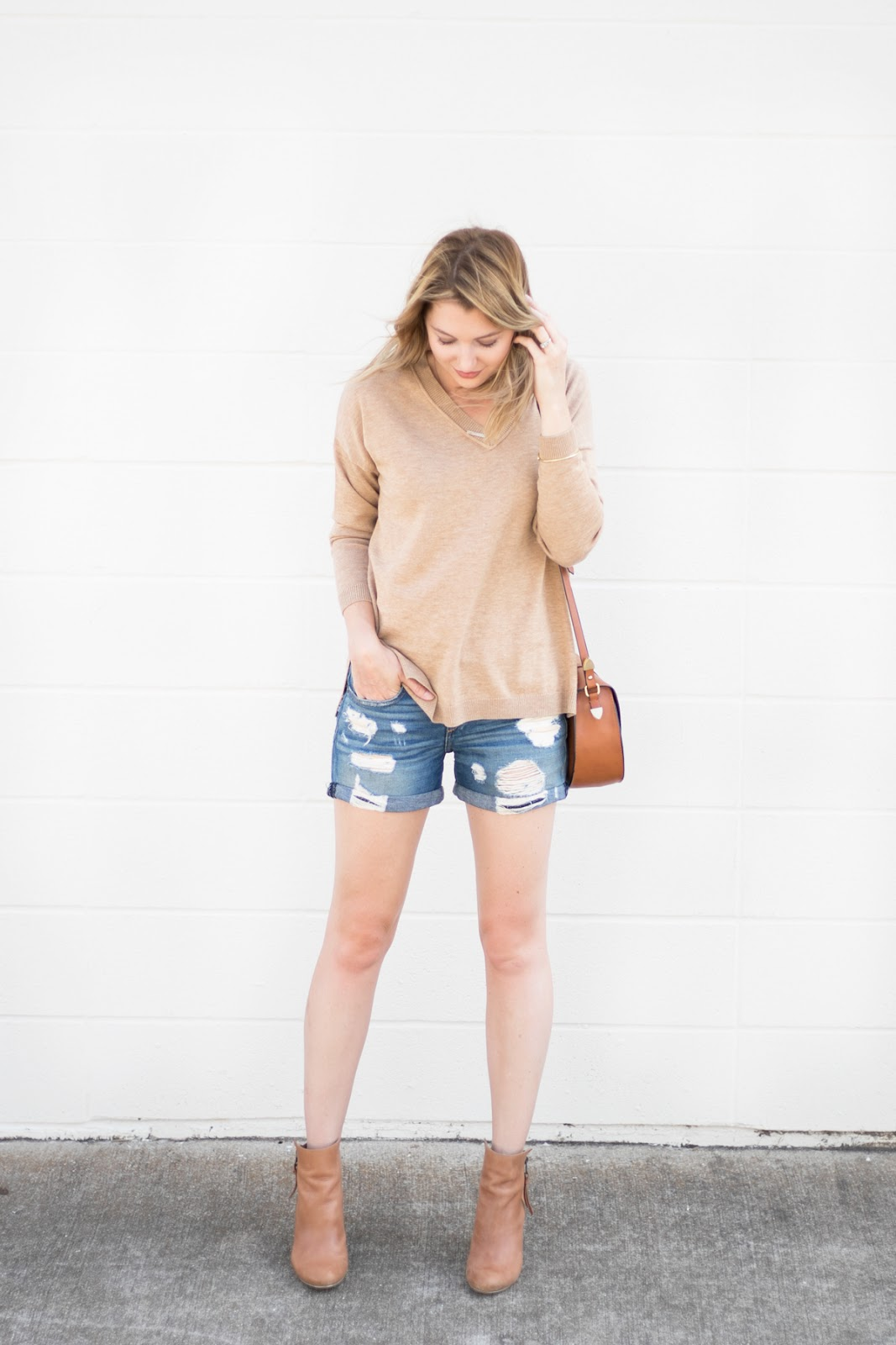 v neck sweater with shorts