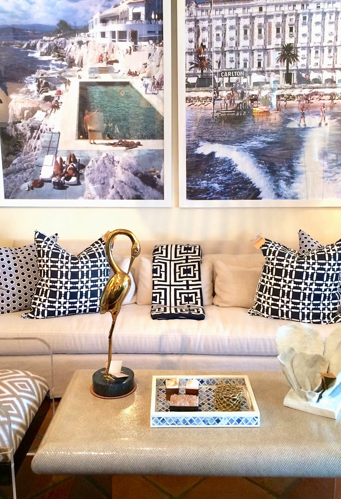 COCOCOZY Plaid Solid Linen Pillows and Logo Throw in Mecox Gardens West Palm Beach
