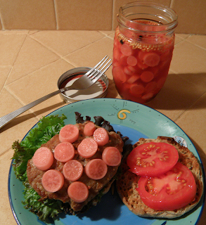 Jar of Radishes with Burger and Fixin's
