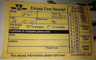 TTC Excess Fare Receipt Front Side