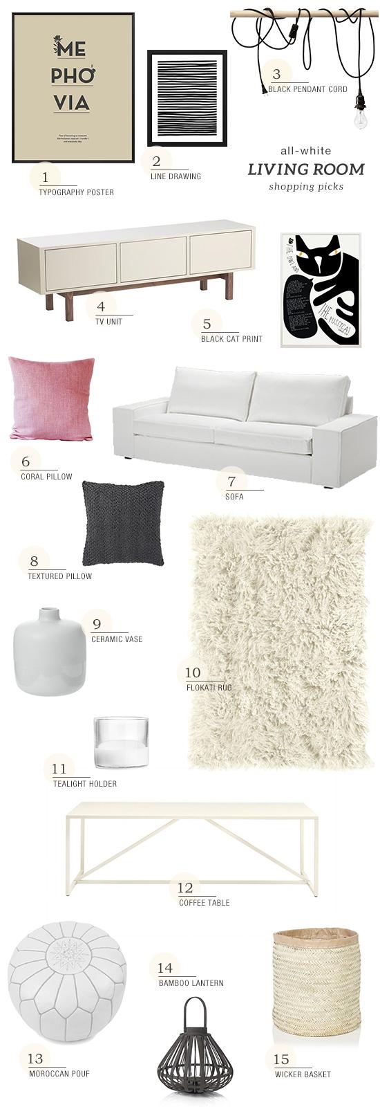 Scandinavian inspired white living room shopping picks | My Paradissi