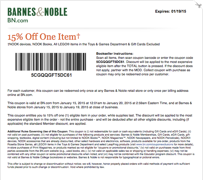 Barnes and noble discount coupons
