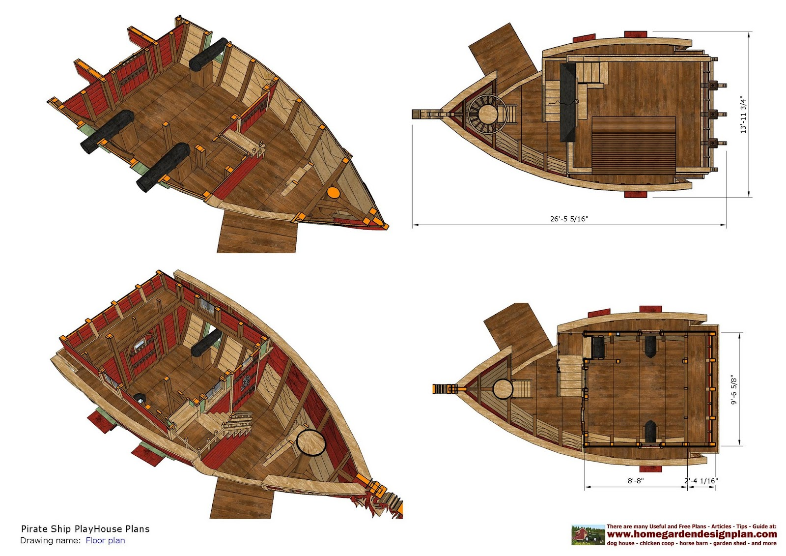Home garden plans ps100 pirates ship playhouse plans for Homegardendesignplan
