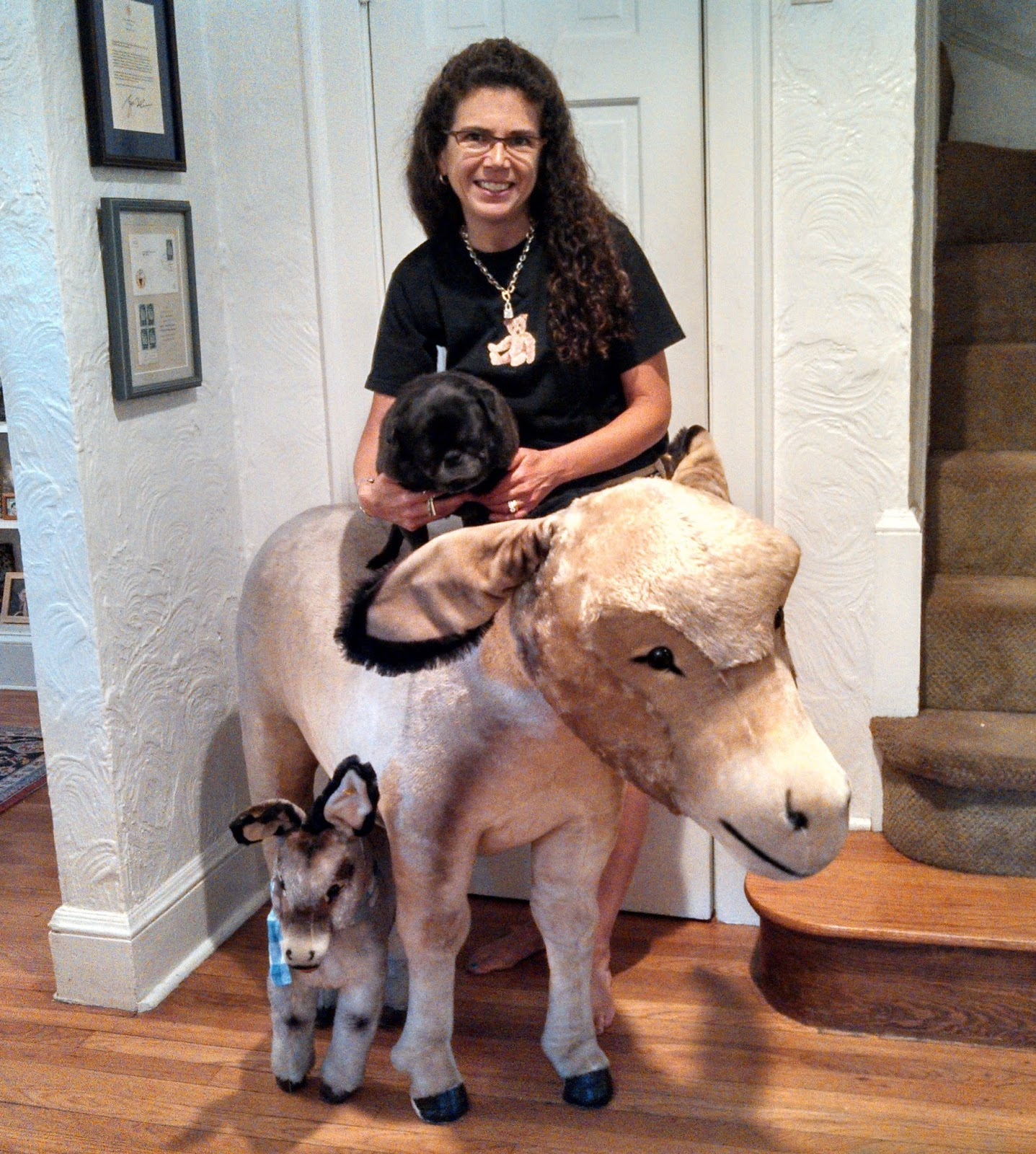 my steiff life  nothing says welcome like a family of life sized steiff donkeys right these two great grissys as well as a few live pug dogs greeted our beloved