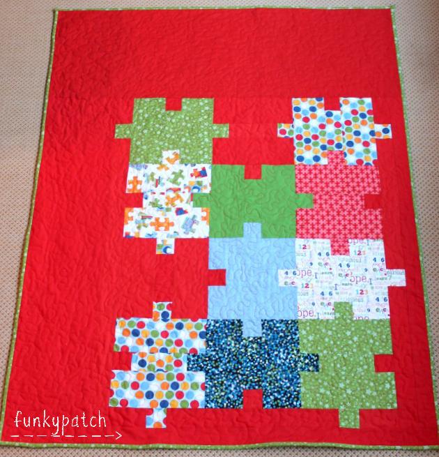 Colcha de patchwork con bloques de puzzle