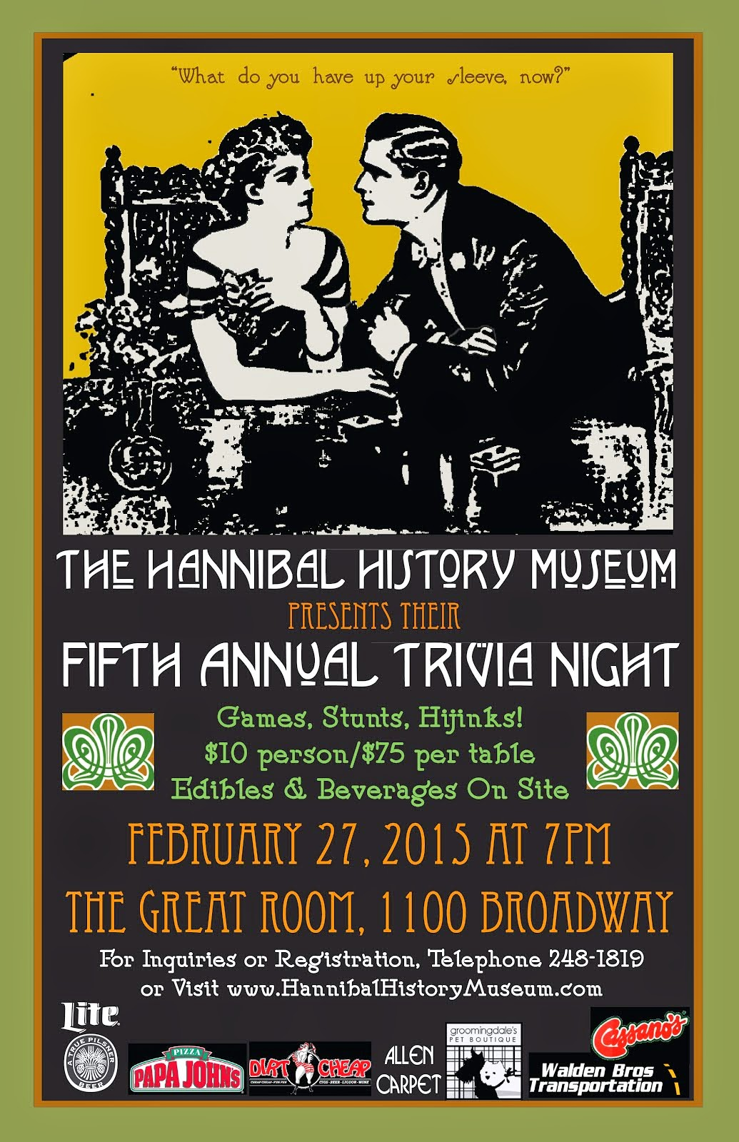 Hannibal History Museum's 5th Annual Trivia Night on Feb. 27th at The Great Room!