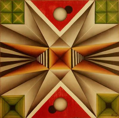Primeiro quadro de geometria abstrata inspirado num campo de futebol - Elma Carneiro