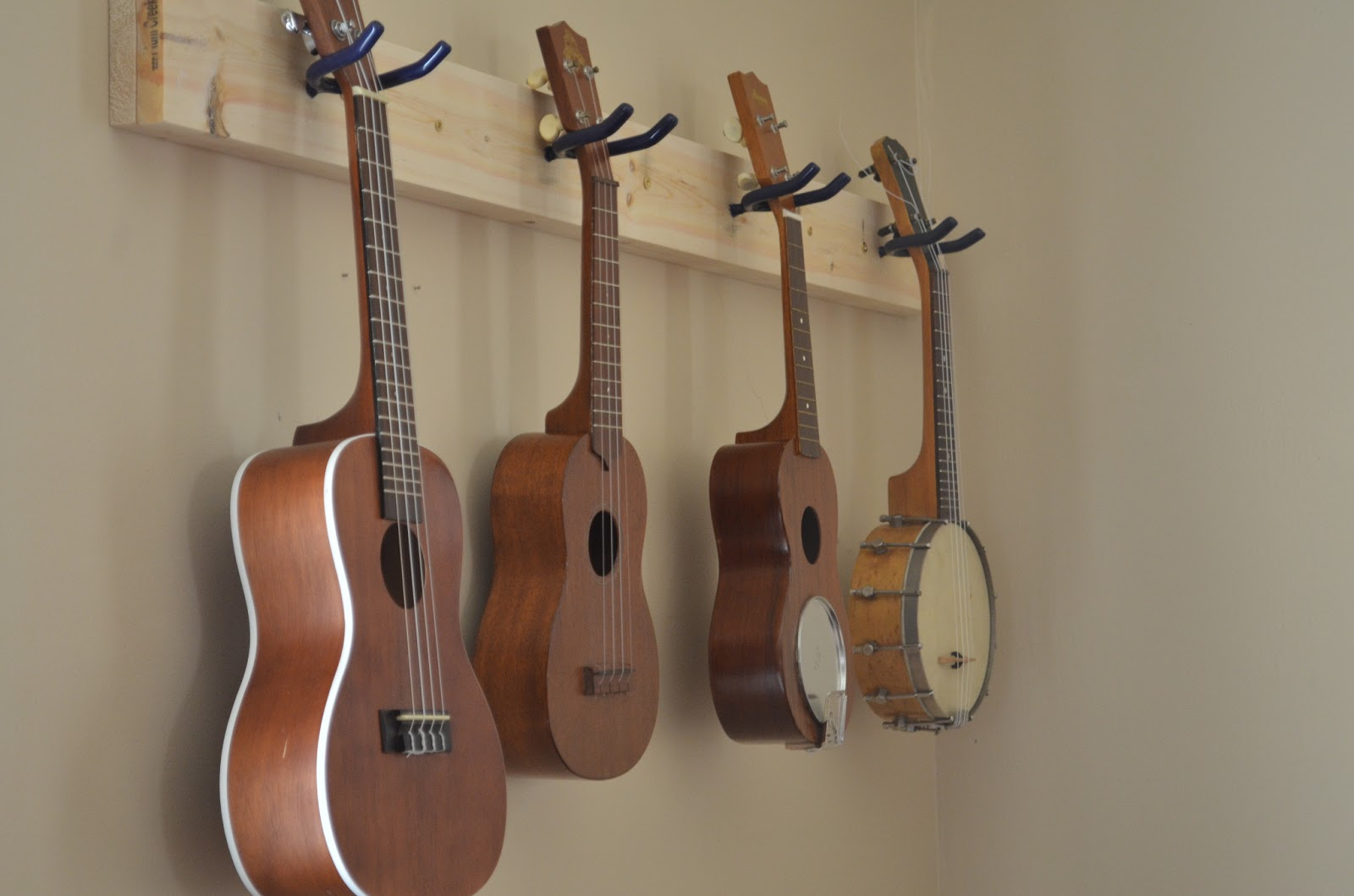 Ukeonomics how to make a ukulele wall hanger not much left to do but hang those ukes up and pat yourself on the back for a job well done solutioingenieria Image collections