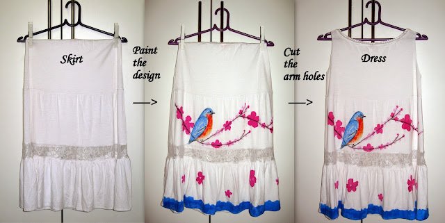 DIY, DIY from skirt to a dress, recycle old skirt into dress, bird and flower cherry blossom print on skirt dress, scenic print on skirt dress