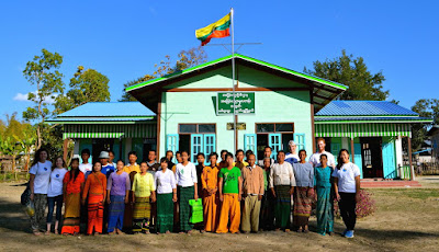 Global Playground members and Paw Myar villagers celebrating the inauguration of its newest school in Myanmar
