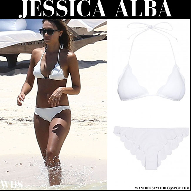 Jessica Alba in white scalloped two piece bikini Marysia Swim beach cancun 2015
