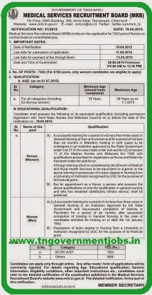 Medical Services Recruitment Board (MRB) Recruitments (www.tngovernmentjobs.in)