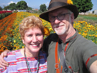 Tim and Kim in field of marigolds, 2015