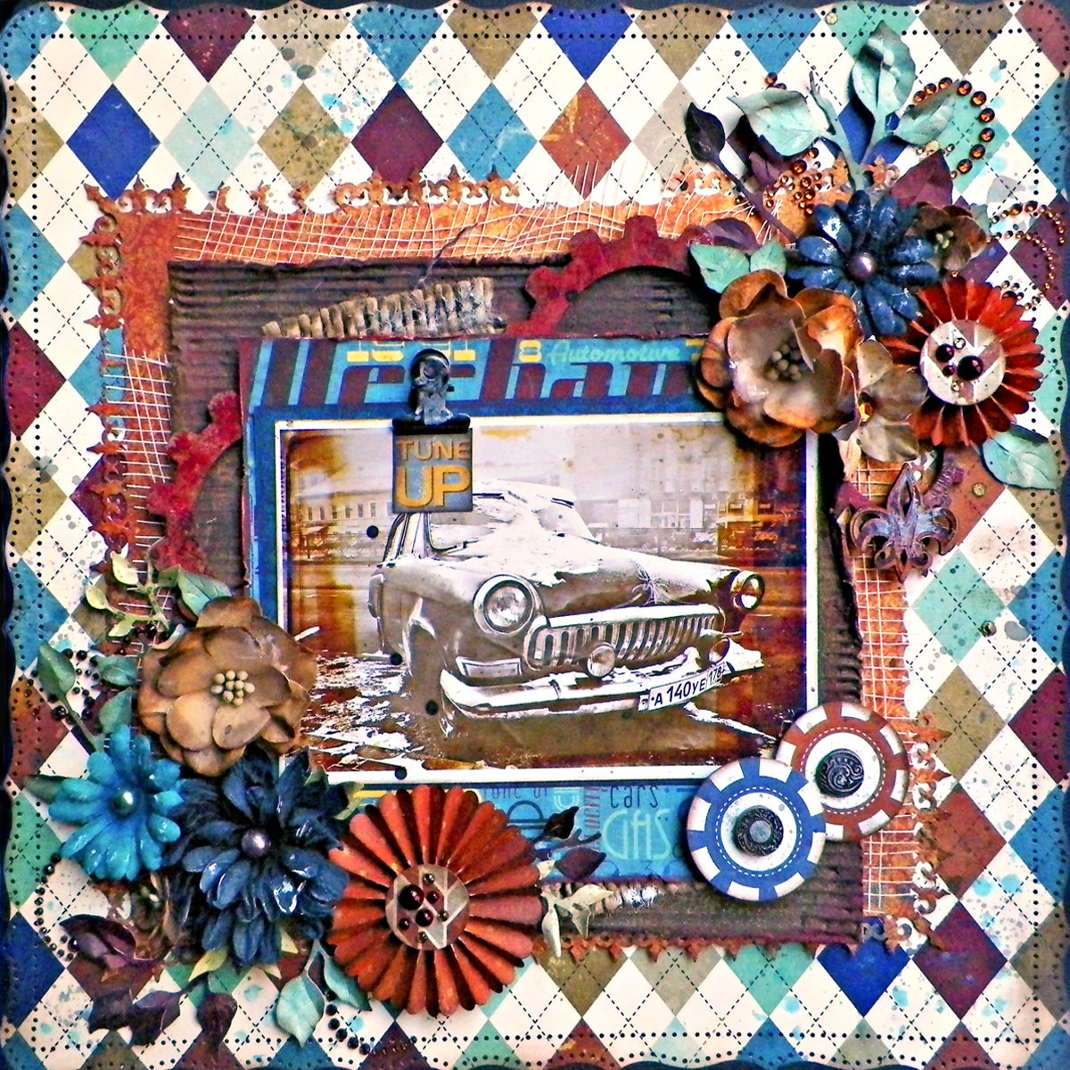 Tune Up Scrapbook Page by Lisa Novogrodski using BoBunny Wild Card Collection