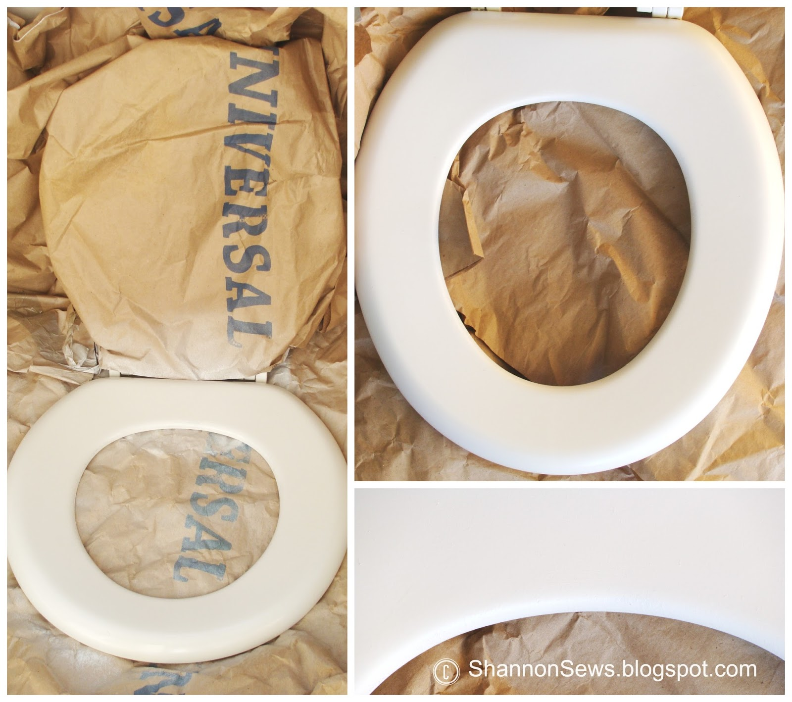 gold glitter toilet seat. do it yourself fix toilet seat spray paint look new again Sewing  Tutorials Crafts DIY Handmade Shannon Sews blog for