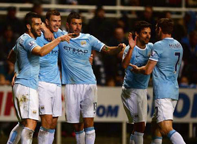 Edin Dzeko Manchester City vs Newcastle United Capital One Cup