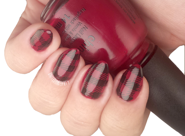 red plaid flannel shirt nails by @unitedinbeauty