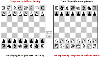 Chess Cheating iPhone app versus a computer chess player.