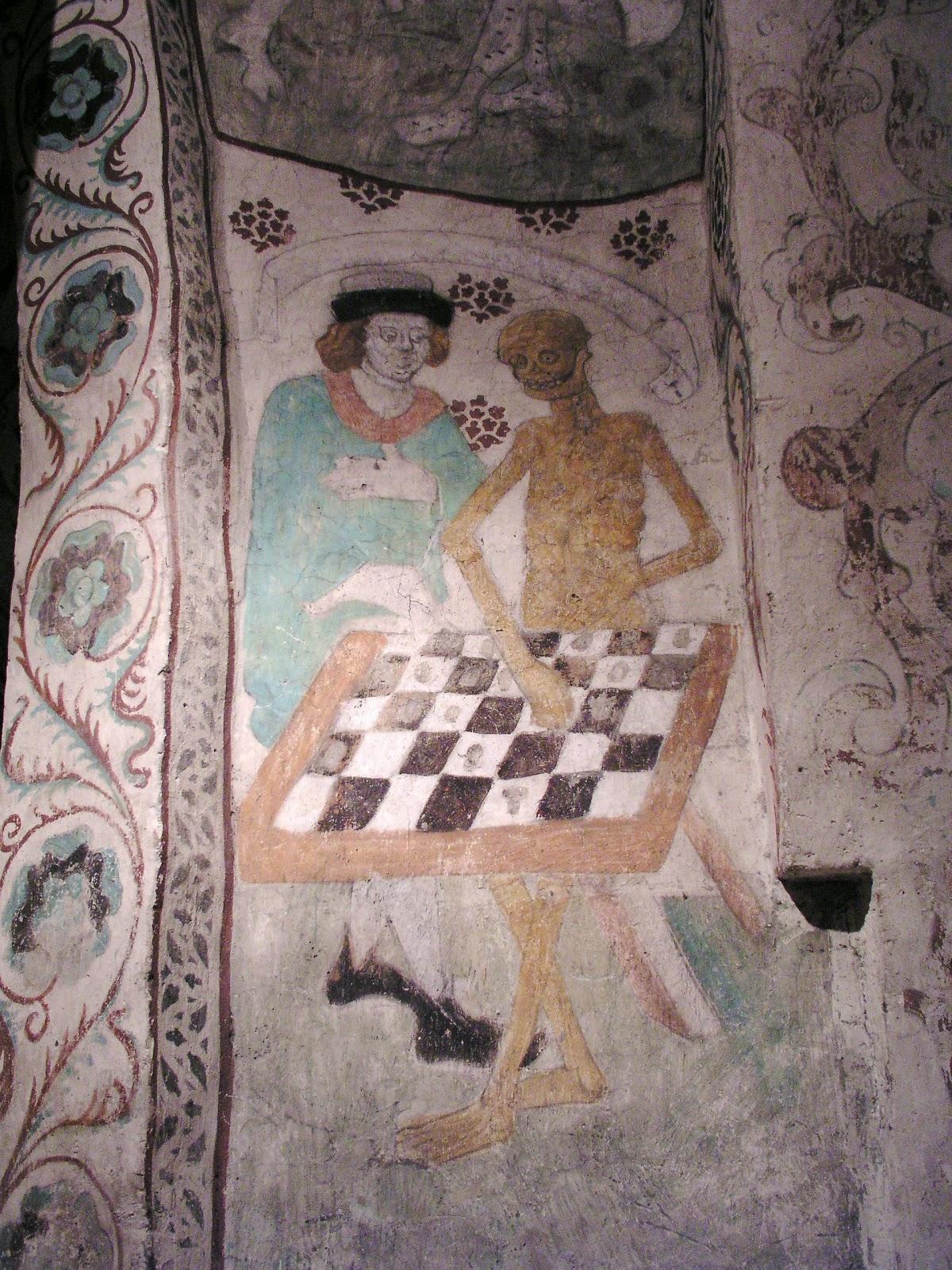 La muerte jugando al ajedrez, mural de Albertus Pictor (1440-1507), en la iglesia de Täby, al norte de Estocolmo. «Todo es un tablero de noches y días...» (Omar Khayyam)