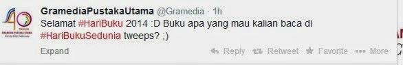 Ucapan dari akun twitter Gramedia