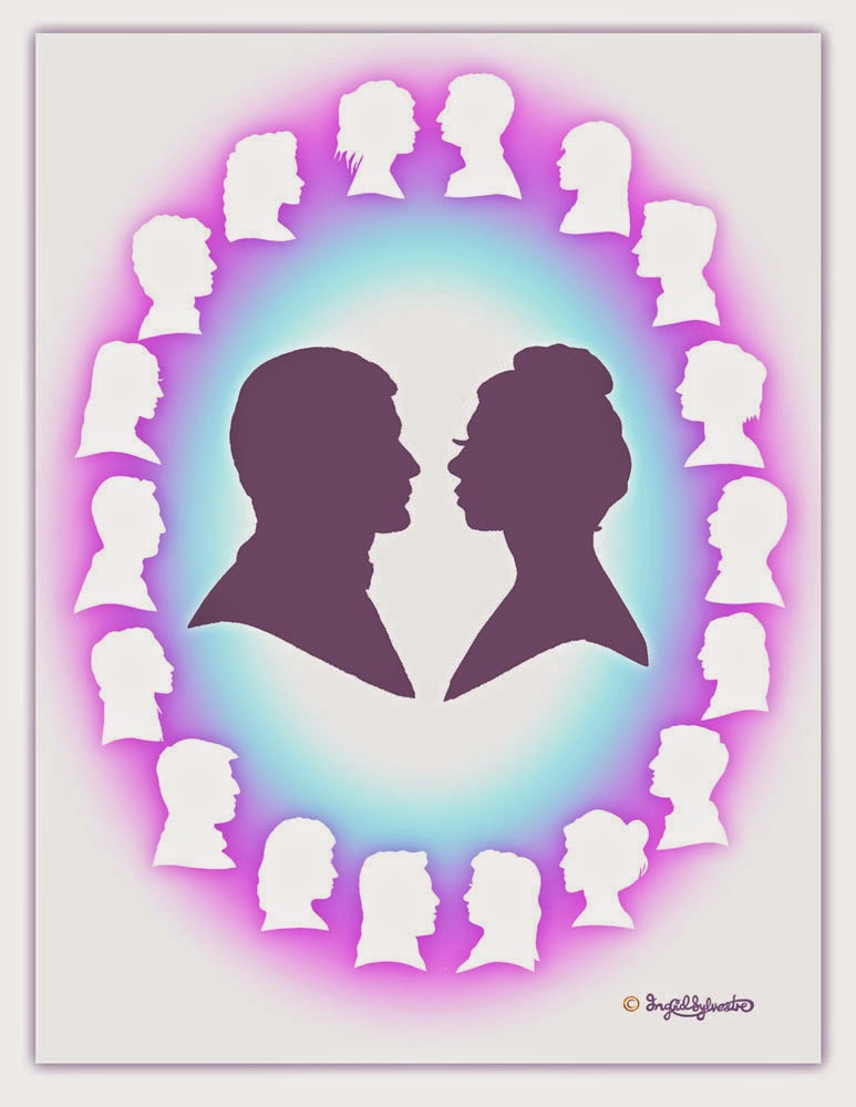Wedding Entertainment - silhouettes hand cut on the spot of you & your guests, digitally mounted into a jpeg image by UK artist Ingrid Sylvestre