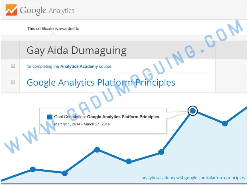 Google Analytics Platform Principles Gay Aida Dumaguing Certificate