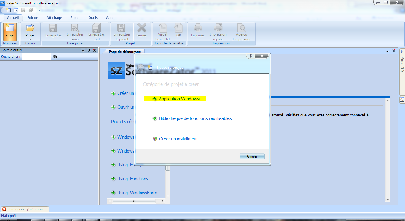 Softwzone cr er des logiciels sans conna tre la programmation for Fenetre windows outils