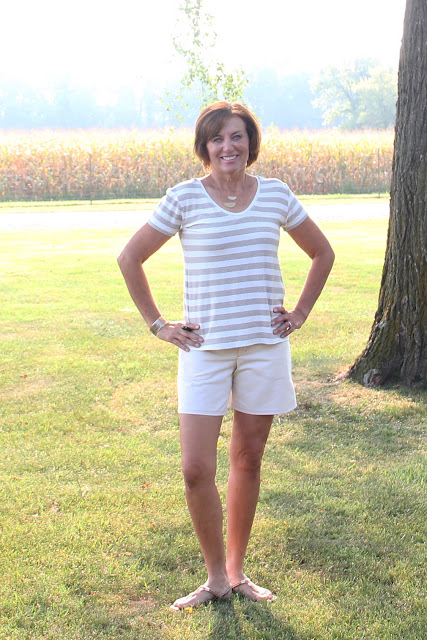 Mood Fabrics' metallic knit for Briar Tshirt and Style Maker's twill for Grainline's Maritime shorts