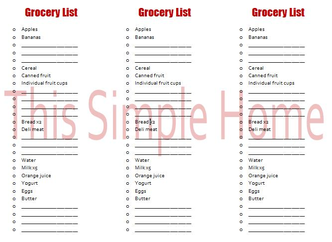 grocery lists template