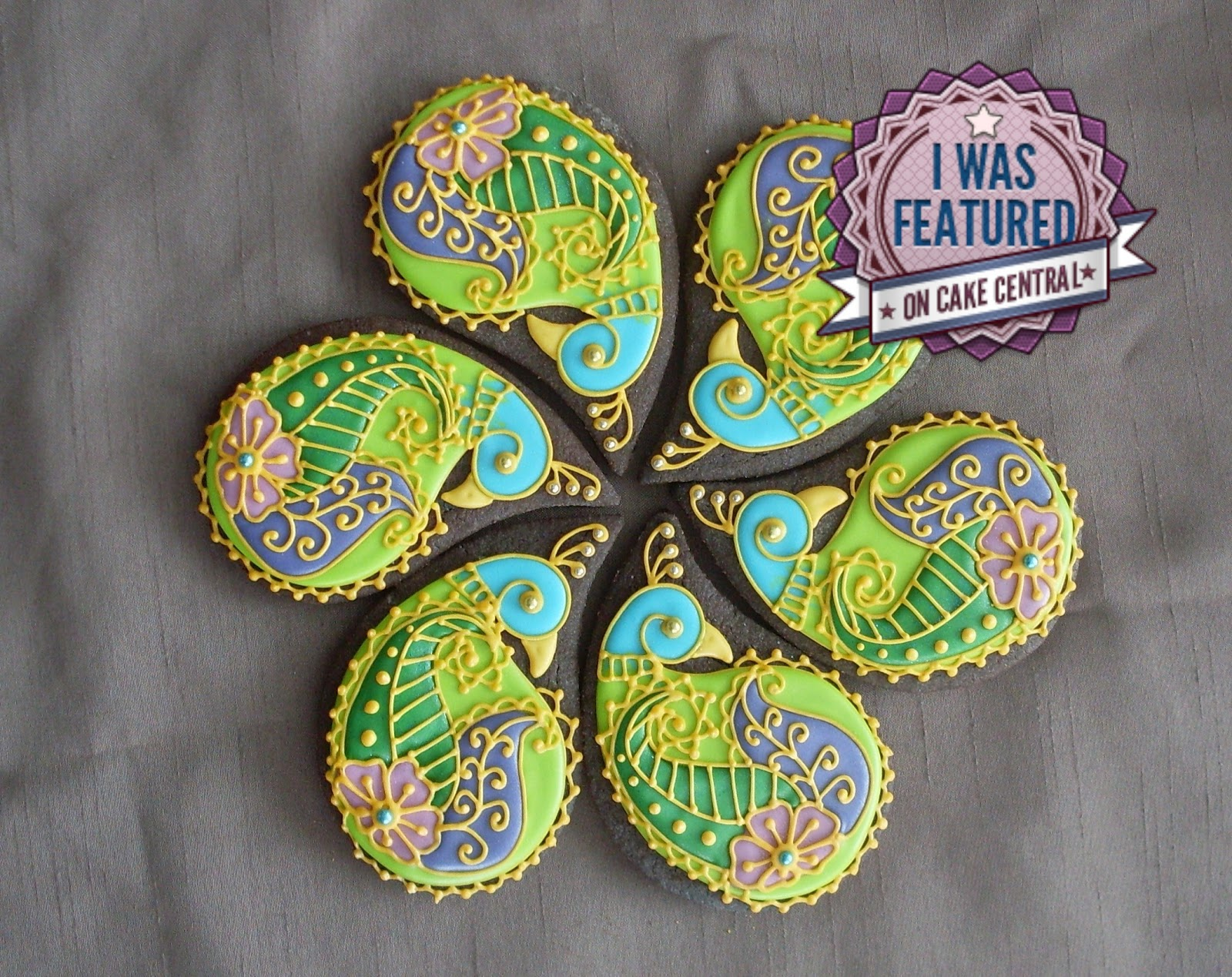 Mehndi Cake Birmingham : Montreal confections henna peacock cookie tutorial