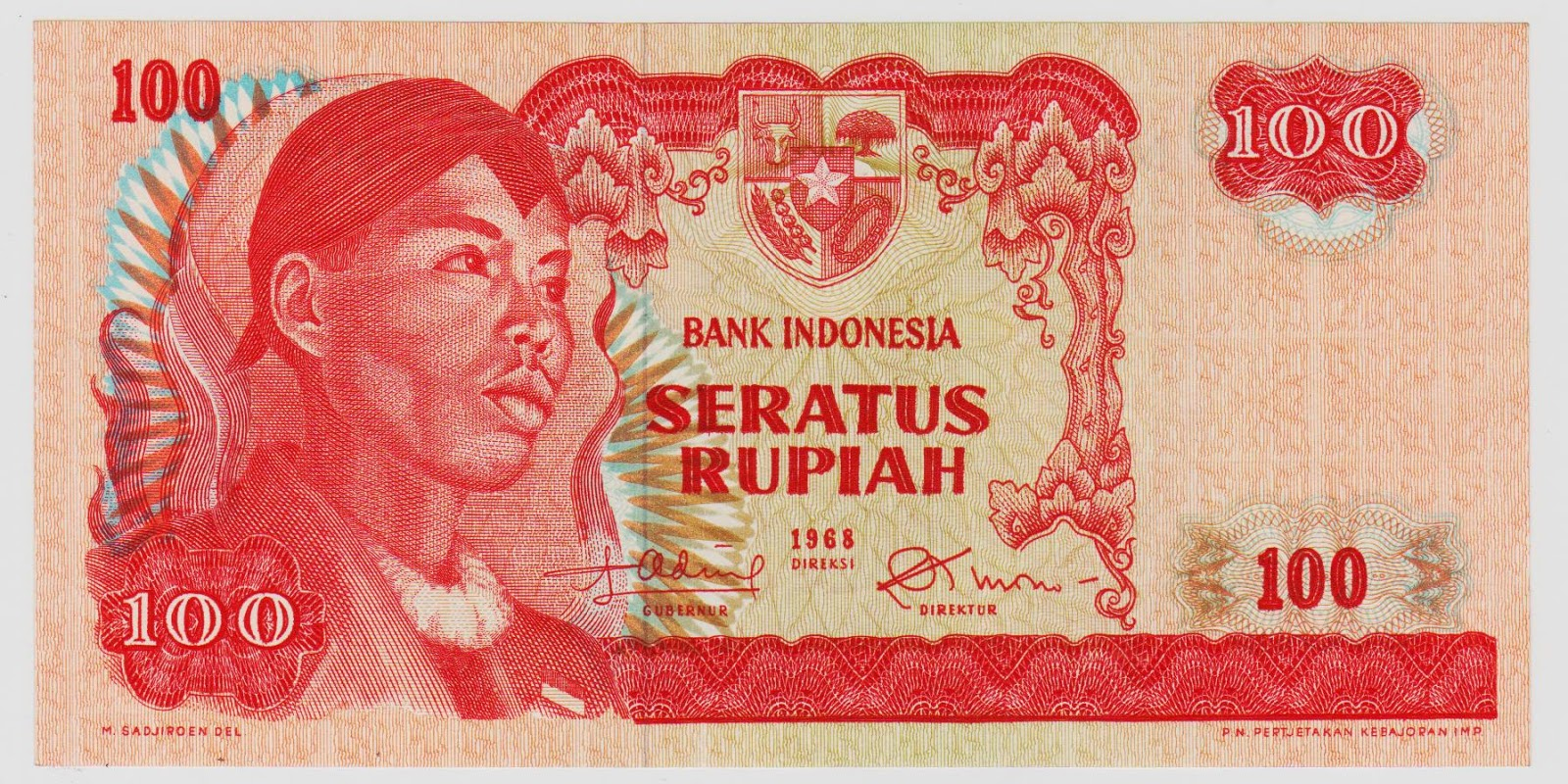 uang kuno Seri Soedirman tahun 1968 Pecahan 100 rupiah