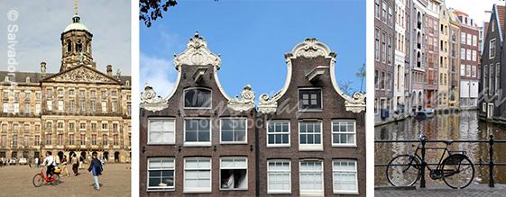 Plaza Dam, arquitectura tradicional, canales y bicicleta de Amsterdam